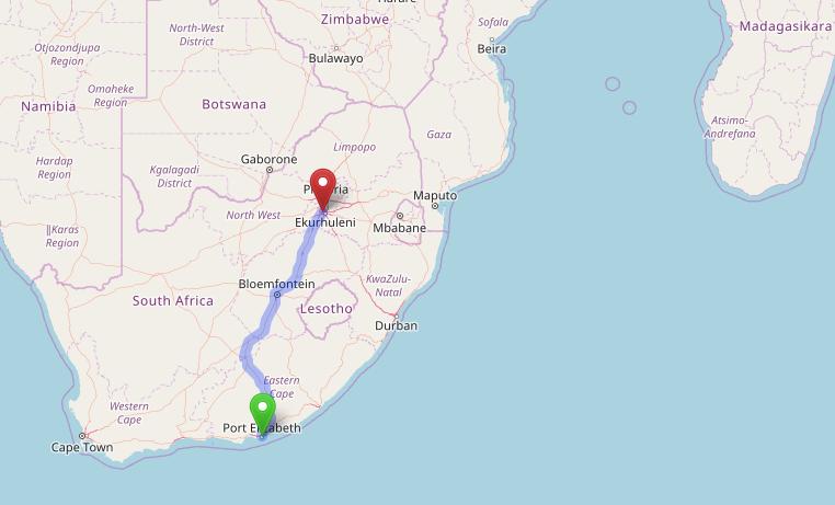 trajets en Afrique du sud