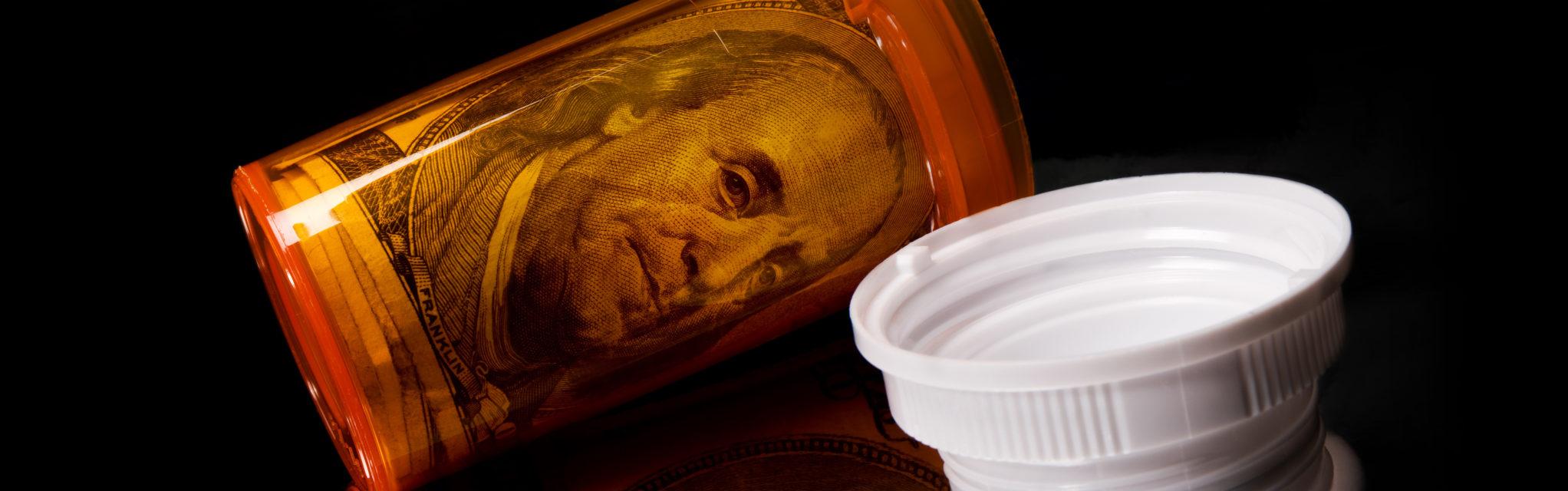 rêve américain - dollar dans boite de médicaments