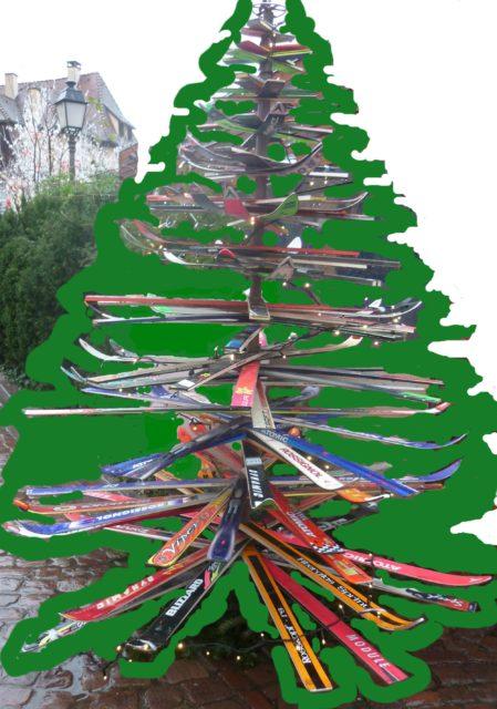 sapin de skis fêtes